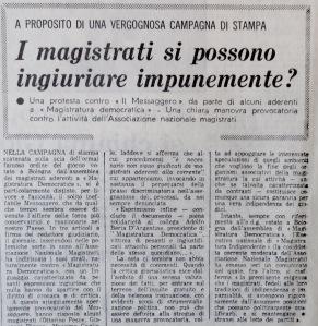 1969 12 16 Paese Sera - I magistrati si possono ingiuriare impunemente A