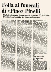 1969 12 21 Paese Sera - Folla ai funerali di Pino Pinelli