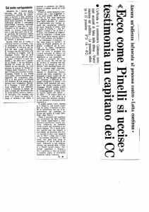 1970 10 16 Paese Sera - Ecco come Pinelli si uccise testimonia un capitano dei CC di G.M.